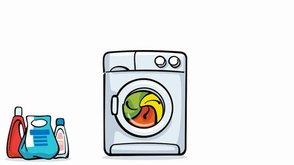 cartoon washing machine working loopable with alpha