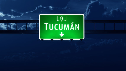 Tucuman Argentina Highway Road Sign at Night