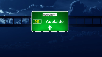 Adelaide Australia Highway Road Sign at Night