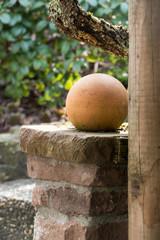 ceramic ball as garden decoration