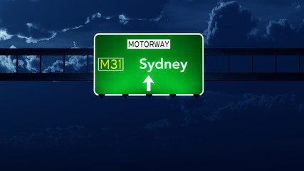 Sydney Australia Highway Road Sign at Night