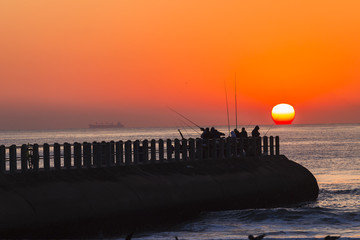 Fishing Sunrise Ocean Jetty