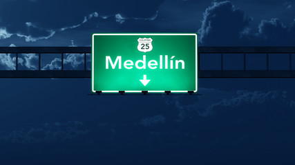 Medellin Colombia Highway Road Sign at Night