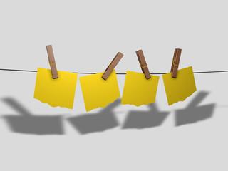 Foglietti gialli stesi