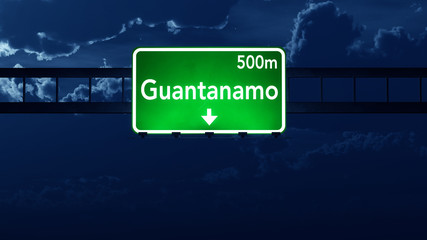 Guantanamo Cuba Highway Road Sign at Night