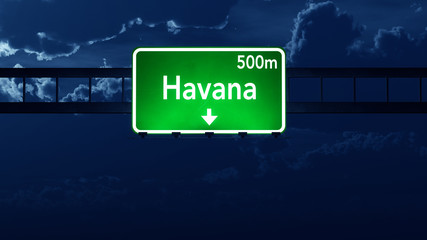 Havana Cuba Highway Road Sign at Night