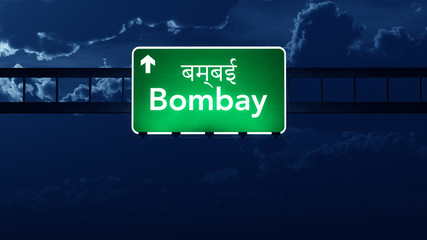 Bombay India Highway Road Sign at Night