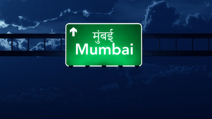 Mumbai India Highway Road Sign at Night