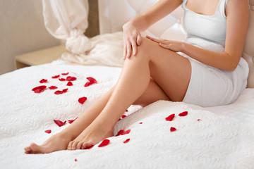 Long Woman Legs. Beautiful Woman Cares About Legs. Depilation