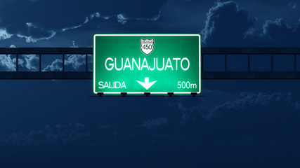 Guanajuato Mexico Highway Road Sign at Night