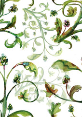 Seamless watercolour green vines white on background pattern