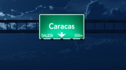 Caracas Venezuela Highway Road Sign at Night