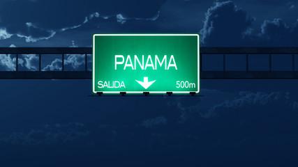Panama Highway Road Sign at Night