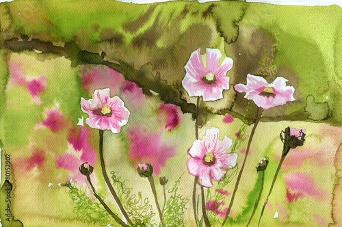 Naklejka pink flowers