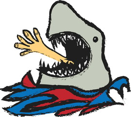 cartoon shark devouring man