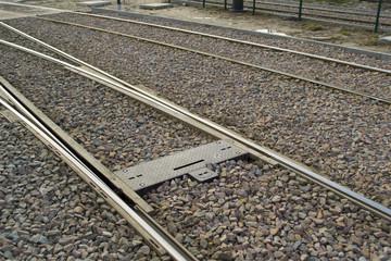 Rails of an urban tram line