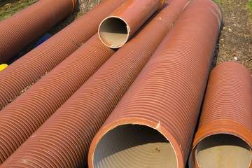 Red corrugated pipes