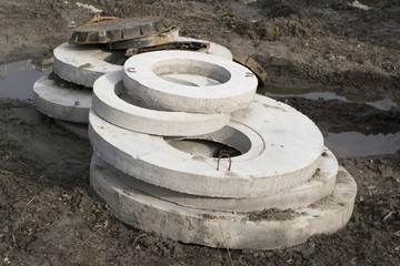 Round slabs of concrete with holes
