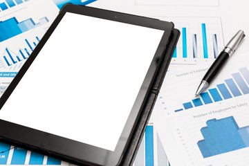Tablet. Tablet computer and financial charts