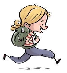 niña corriendo con mochila