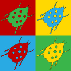 Pop art bug symbol icons.