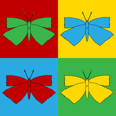 Pop art butterfly symbol icons.
