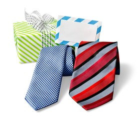 Day. Happy Fathers Day tag with gift boxes, and ties