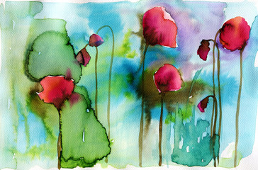 watercolor illustration depicting spring flowers in the meadow © bruniewska