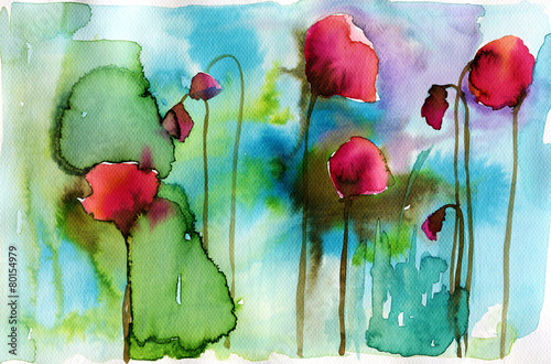 watercolor illustration depicting spring flowers in the meadow