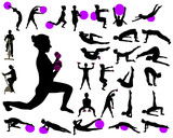 Fototapety Exercise collection silhouettes