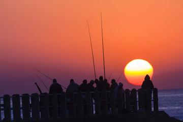 Angling Fishermen Sunrise Ocean