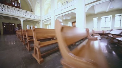 Organ and rows of benches in Evangelical Lutheran Cathedral
