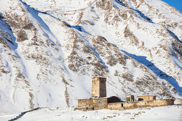 Svaneti church in Ushguli, Lamaria