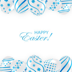 Easter eggs with blue pattern