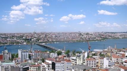 Long bridge connects two parts of city, time lapse
