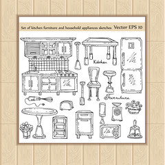 Vector set of kitchen furniture, household appliances sketches