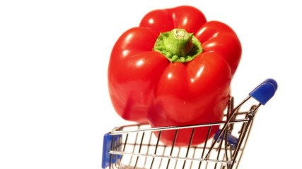 Red pepper on a small rotating trolley in profile