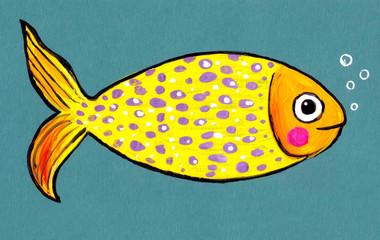 Детский рисунок ,,Рыбка,,.