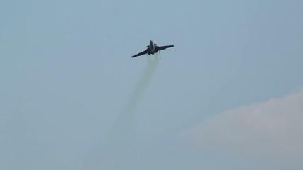 Russian SU-27 aircraft makes a trick at air show