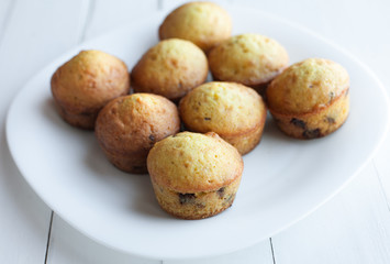 Homemade muffins in plate on table