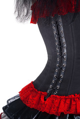 Black and red corset isolated over white background
