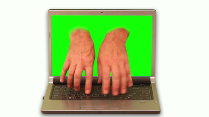 Close-up of hands reaching out of laptop and pressing buttons