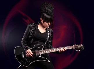 Alternative rock girl with guitar fractal background