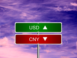 CNY USD Forex Sign