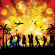 Beach Party design template sunset background
