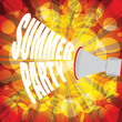 Summer party text with palms and colorful background