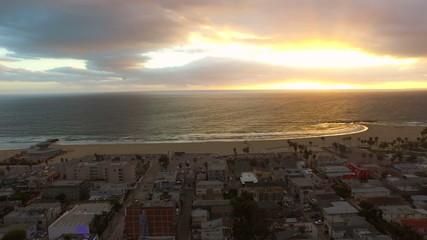 Los Angeles Aerial Venice Beach Sunset