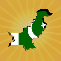 Pakistan sunburst map with flag illustration