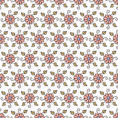 Vector pattern with hand drawn, colored and spring flowers