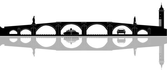 Heidelberg - Alte Brücke - Silhouette - gespiegelt